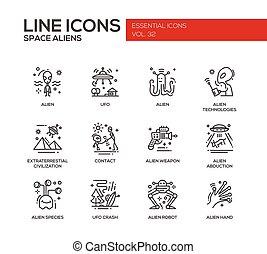 Space Aliens - line design icons set
