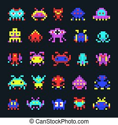 Space aliens vintage video computer arcade game pixel vector monster icons