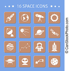 Space and astronomy buttons