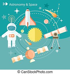 Space and astronomy icons set with telescope globe rocket...