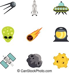Space and astronomy icons set, flat style