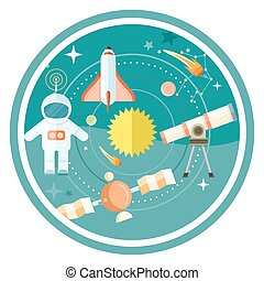 Space and astronomy icons set with telescope globe rocket ...