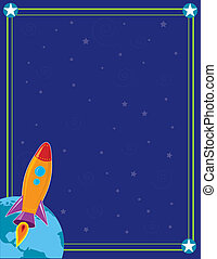 Space and Rocket - A space ship or rocket is heading into...