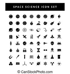 space and science icon set with black color glyph style design.