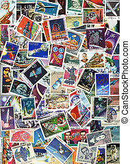 Space and spaceships - background of postage stamps