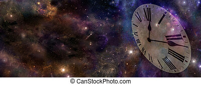 Space and Time Banner - Deep space background banner with...