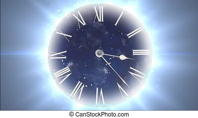 Space and time. Fast moving clock with lots of particles -...
