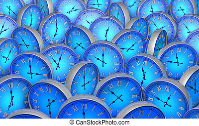 Space and time. Many blue circular clock. 3D illustration.