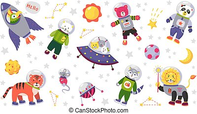Space animal kids. Cartoon baby characters in space costumes with rocket planet and stars. Vector baby animals isolated on white