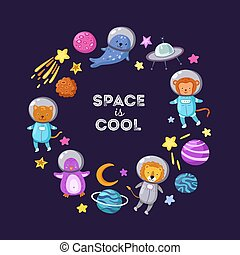 Space animals background. Cute baby animal astronauts flying kid pets cosmonauts cartoon funny spaceman science vector poster
