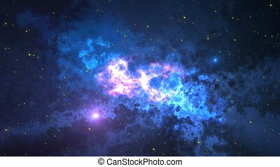 Space animation background with nebula, stars. The Milky Way, the Galaxy and the Nebula