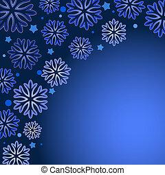 space., arrière-plan bleu, copie, vecteur, flocon de neige