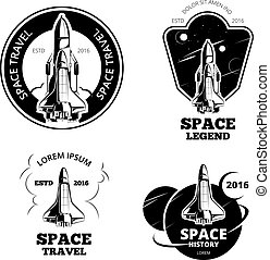 Space astronaut badges, emblems and logos vector set