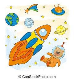 SPACE Astronaut Children Cartoon Vector Illustration Set