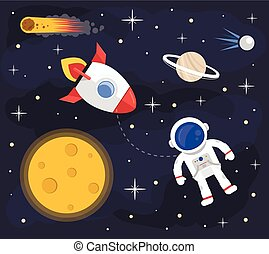 Space astronaut rocket background. Vector flat cartoon illustration