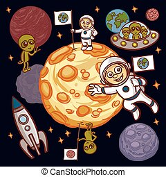 Space. Astronaut. UFO. Alien. Planet