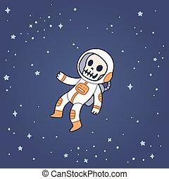 space., astronauta, muerto, flotar