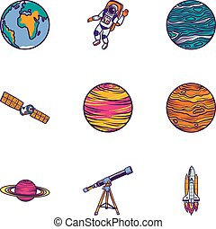 Space astronomy icon set, hand drawn style