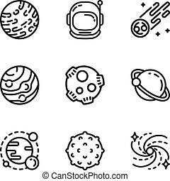 Space astronomy icon set, outline style