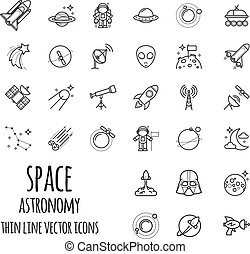 Space, Astronomy Outline Icons set