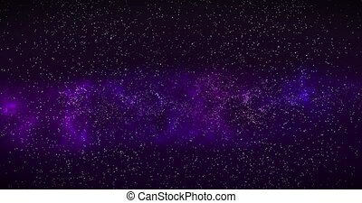 Space background. Camera is flying through the blue and...