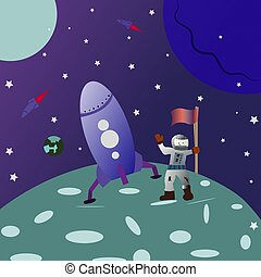 Space background. landing on the moon. cartoon astronaut with a flag in his hand