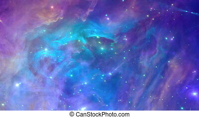 Space background loop - Coloful and dynamic nebula, seamless...