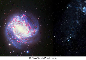 Space background of spiral galaxy nebula and stars field