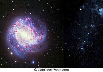 Space background of spiral galaxy nebula and stars field