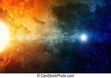 Space background - Scientific background, big red star,...