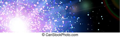Space background with blue light from behind