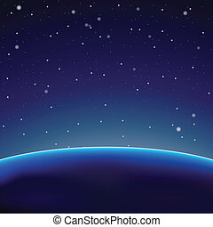 Space background with dark planet (Vector)