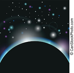 space background with earth and sunrise - Illustration space...