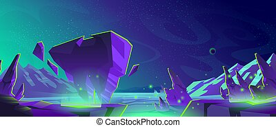 Space background with landscape of alien planet