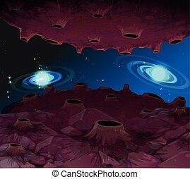 Space background with moon surface