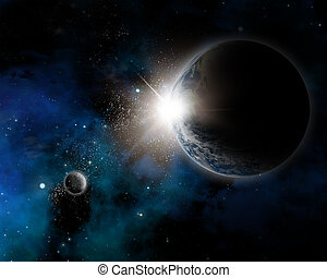 Space background with nebula and planet Earth