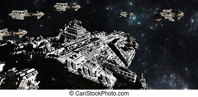 Battle fleet of giant space cruisers and small scout ships, 3d digitally rendered illustration