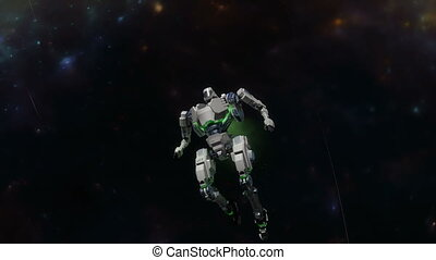 Space battle robot flying at high speed in space.