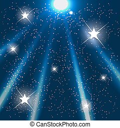 Space. Blue Starry Sky. Vector Illustration.