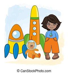 SPACE BOY Children Dream Game Cartoon Vector Illustration Set