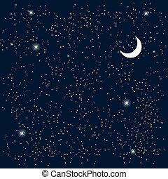 space., céu estrelado, com, a, moon., vetorial, illustration.