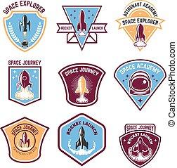 Space camp emblems. Rocket launch, astronaut academy. Design ele