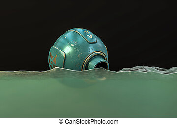 space capsule floats in the water