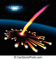 Space card with meteorite explosion