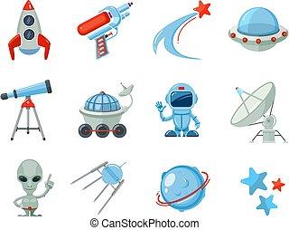 Space cartoon icons. Spaceship rocket astronaut UFO