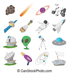 Space cartoon illustrations set
