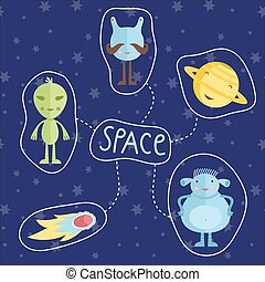 Space Cartoon Style Vector Icons Set