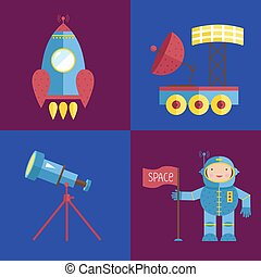 Space Cartoon Vector Icons Collection