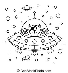 space., chat, style, galaxy., vecteur, contour, cosmonaute, étranger, vaisseau spatial, thème, mignon, espace, coloration, pirate, illustration, extérieur, puéril, page., étoile, livre
