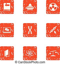 Space chemistry icons set, grunge style